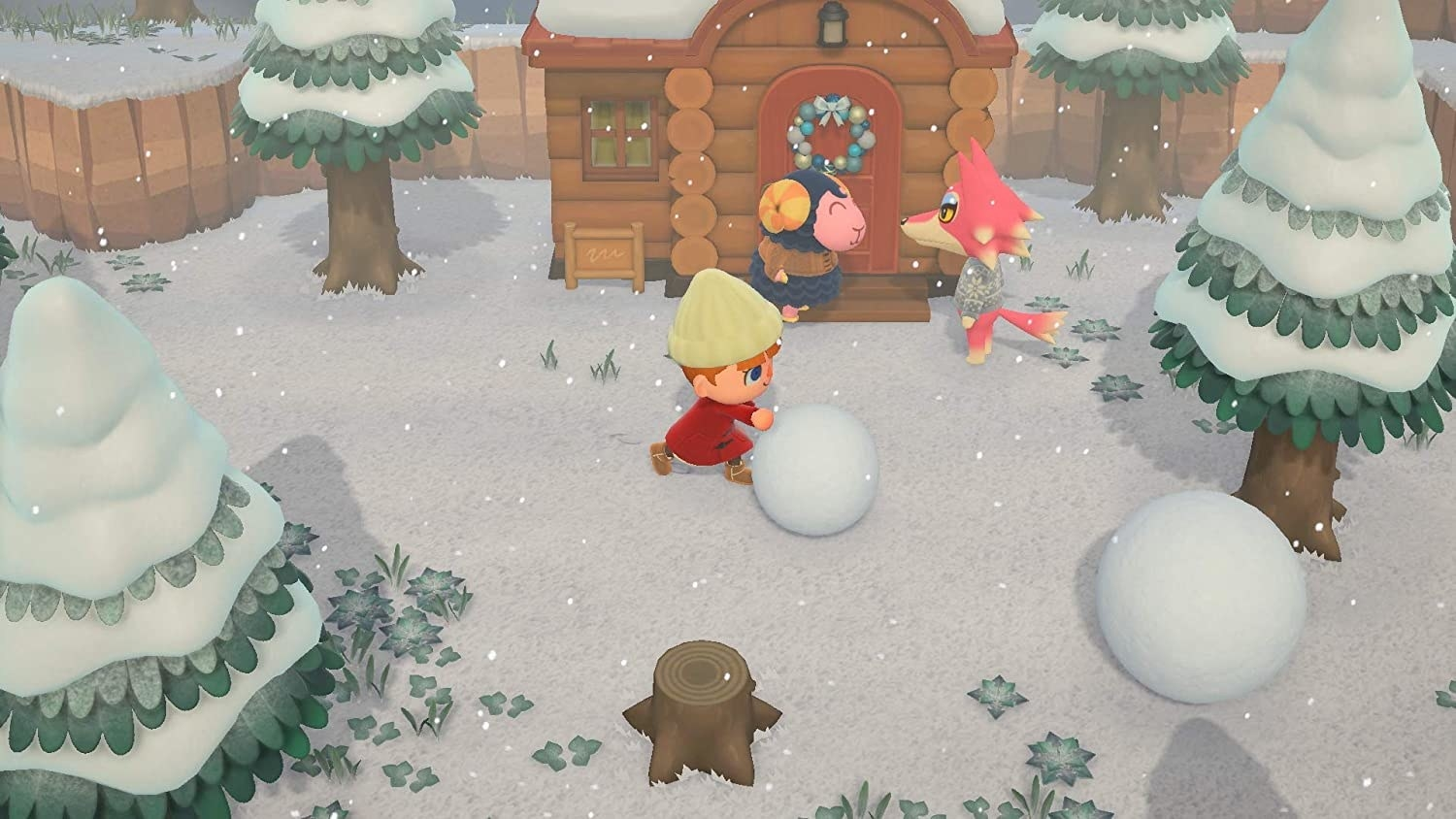 animal crossing character rolling a snow ball while two animal villagers talk behind them