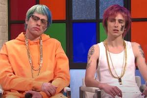 Pete Davidson and Timmothee Chalamet as rappers on