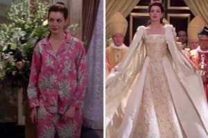 Side-by-side images of Princess Mia in pajamas and Princess Mia in her coronation gown