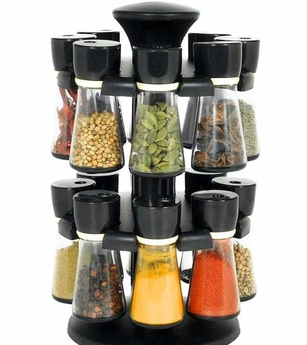 The revolving spice rack pictured with spices in it.