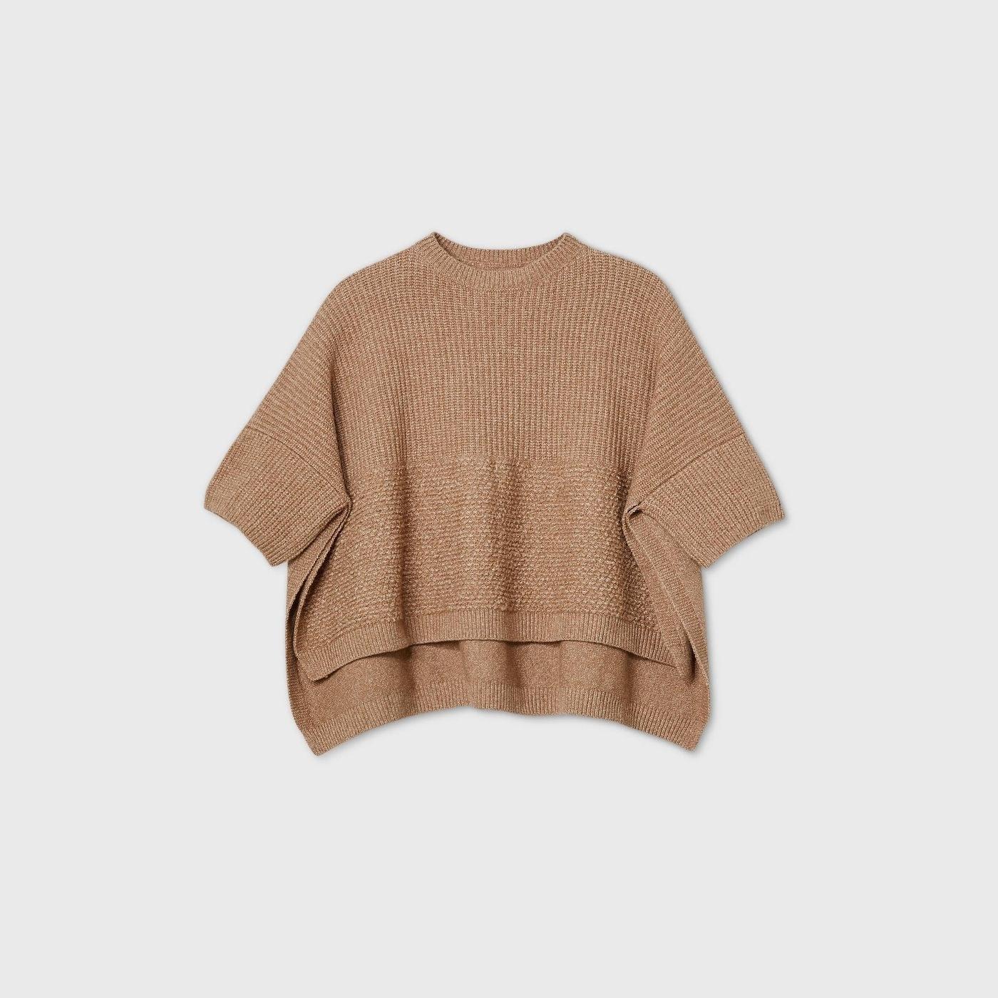layered knit poncho