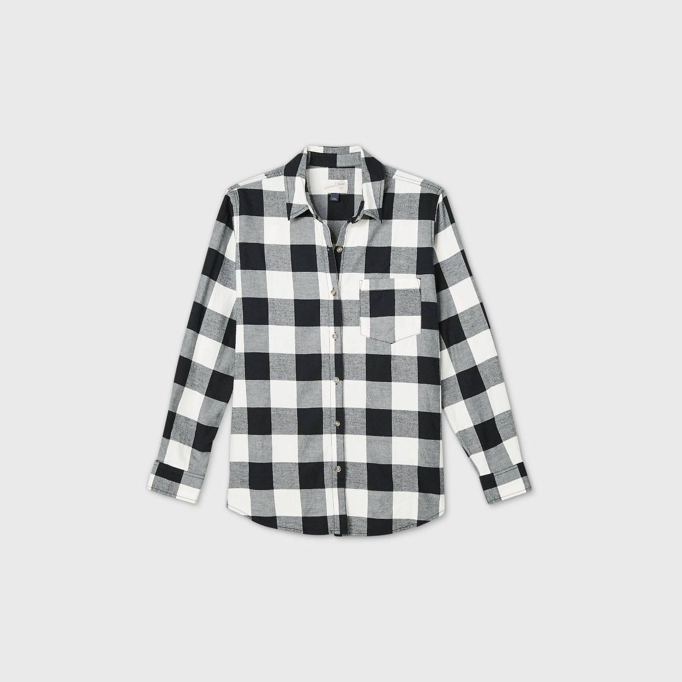 plaid long sleeve button-down shirt