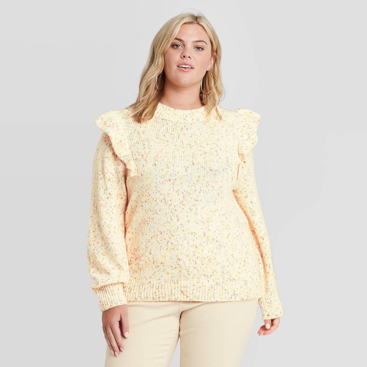 Model in crewneck pullover sweater