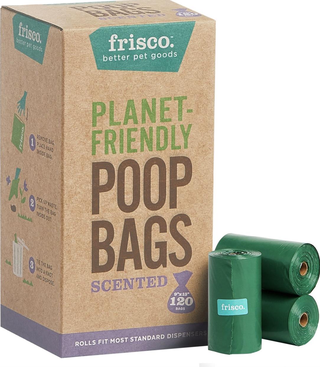Bag of scented poop bags in green
