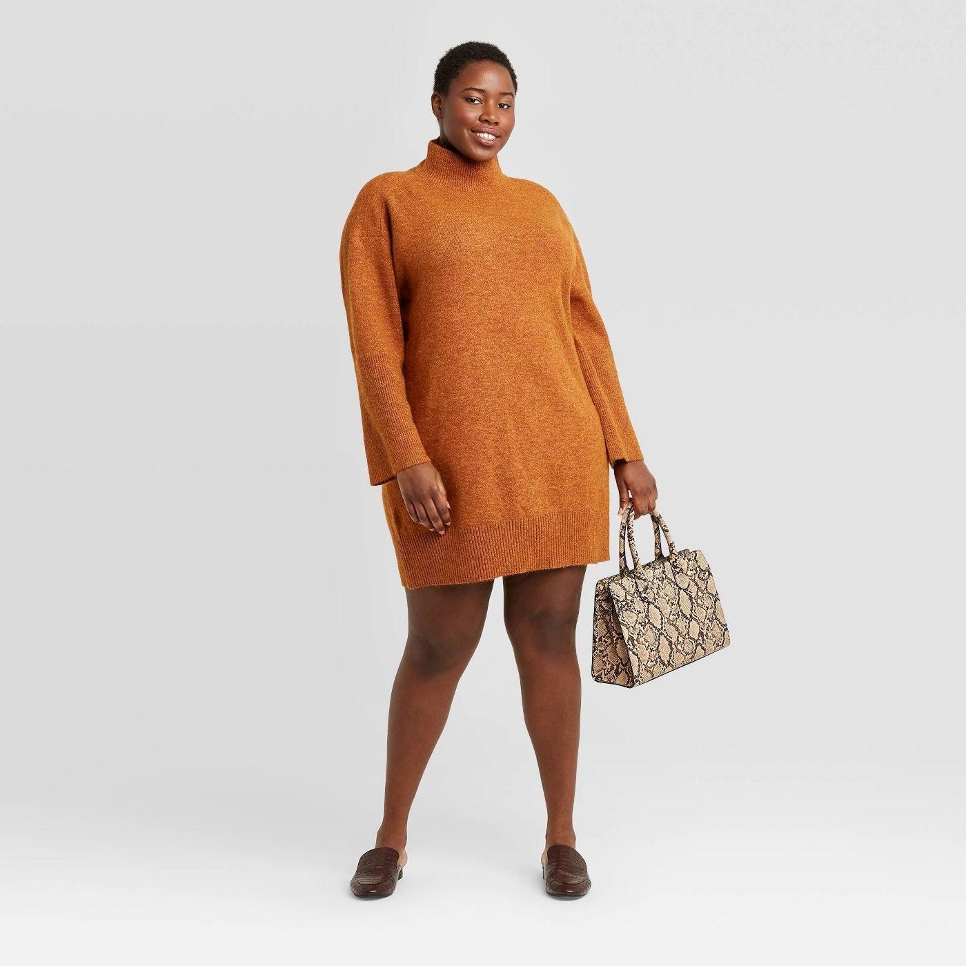 Model in long sleeve sweater dress