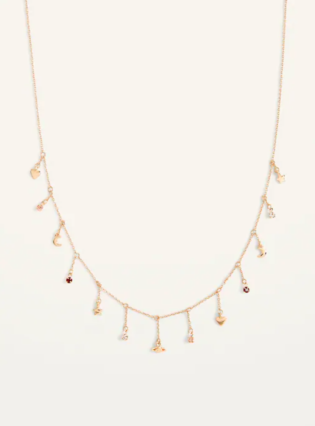 The gold necklace with 13 short dangly chains coming off of it each with a different gem at the end