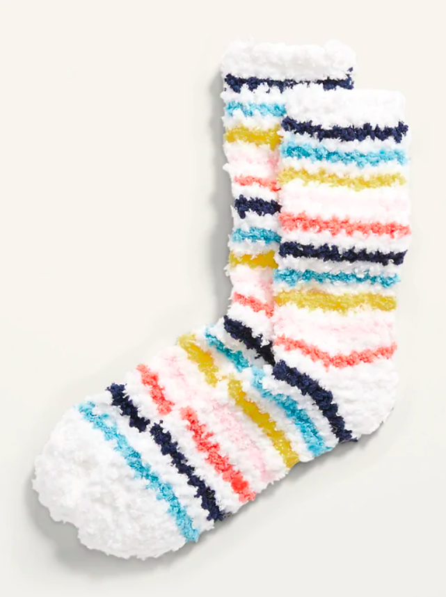 the socks in colorful stripes with a white base