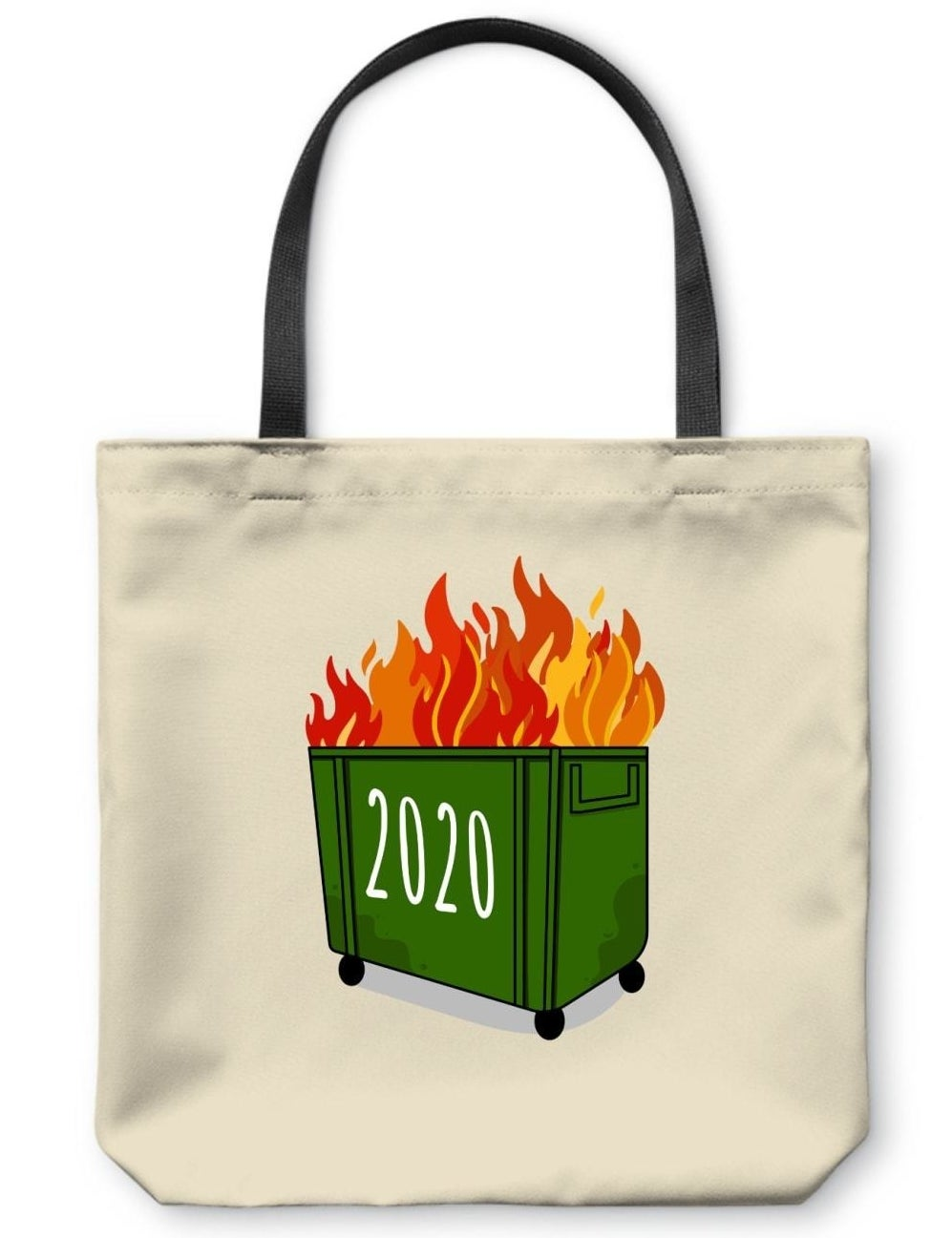 Tote bag with green dumpster on fire and year 2020 on the front