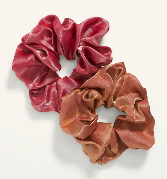 a red and orange iridescent scrunchie