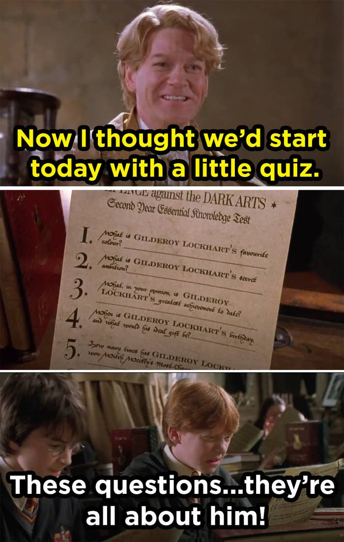 """a professor with wavy hair holds papers in the air and says """"we'll start today with a quiz,"""" and after he hands it to the students one says """"these questions are all about him!"""""""