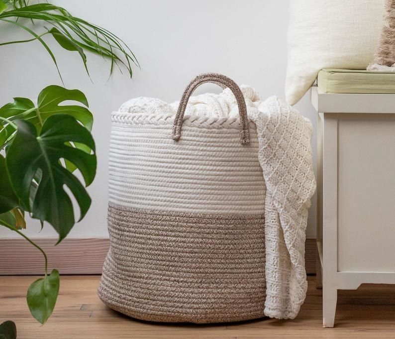 The two-toned brown and cream basket