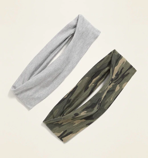 the two headbands in grey and army parttern