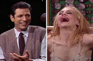 Jeff Goldblum looking confused and Britany Murphy laughing