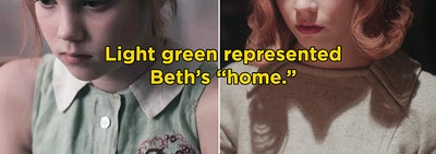 Beth wearing light green in the first and last episode of The Queen's Gambit
