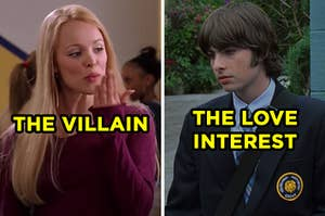 """On the left, Regina George from """"Mean Girls"""" labeled """"The Villain,"""" and on the right, Michael from """"The Princess Diaries"""" labeled """"The Love Interest"""""""