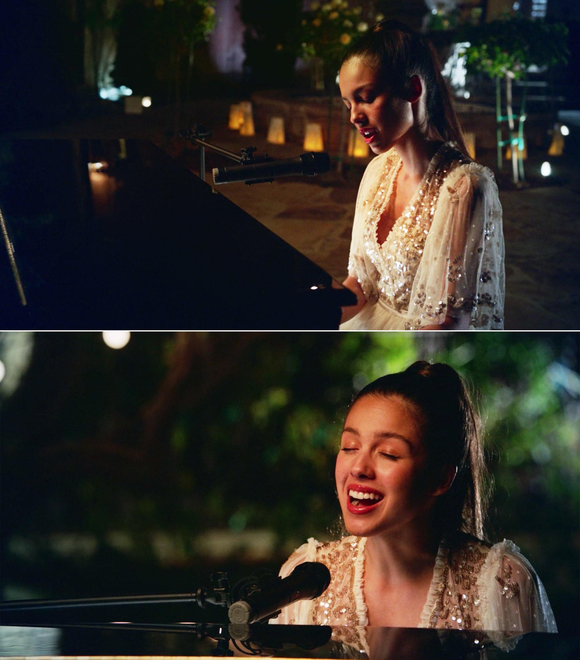 Olivia Rodrigo singing at the piano