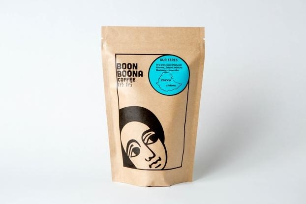 bag of Boon Boona coffee beans sources from Ethiopia