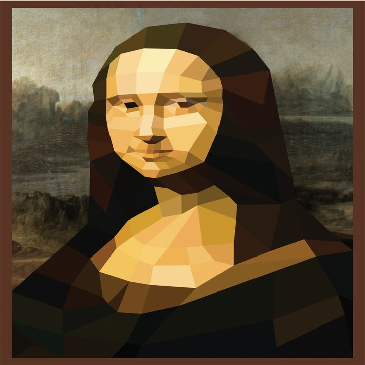 a mona lisa page in the paint by sticker book
