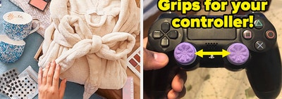 L: Contents of a FitFabFun subscription box laid out R: purple thumbsticks on a Playstation controller