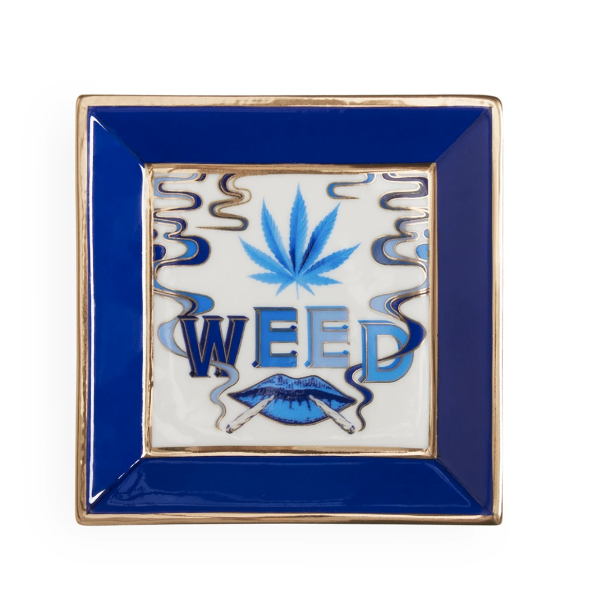 """An ashtray that says """"weed."""""""