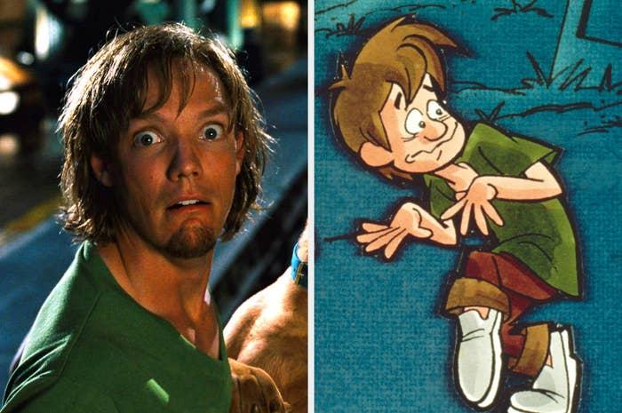Matthew Lillard as Shaggy and the cartoon Shaggy