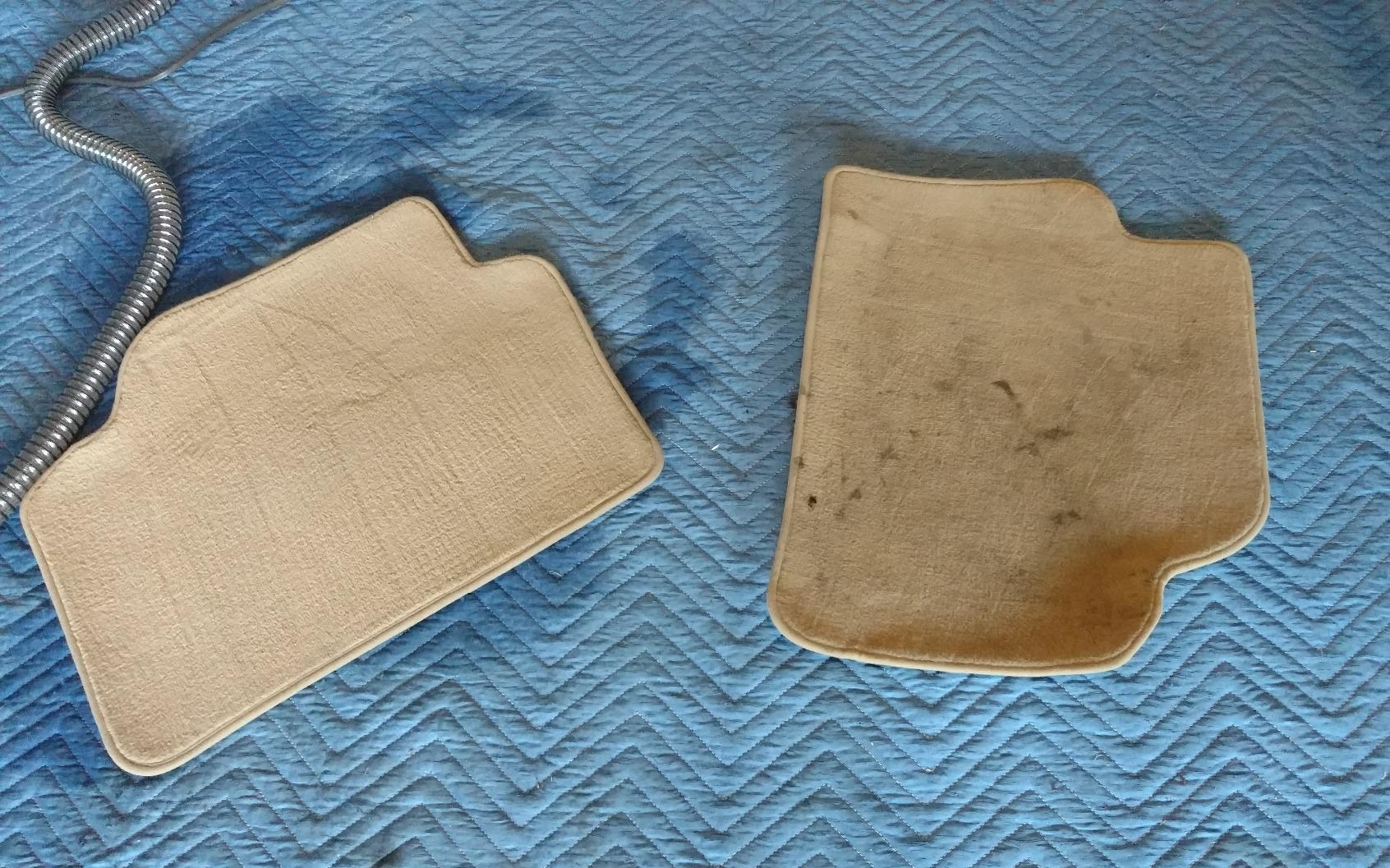 Reviewer's photo of their car floor pads before and after cleaning with the Hoover cleaner