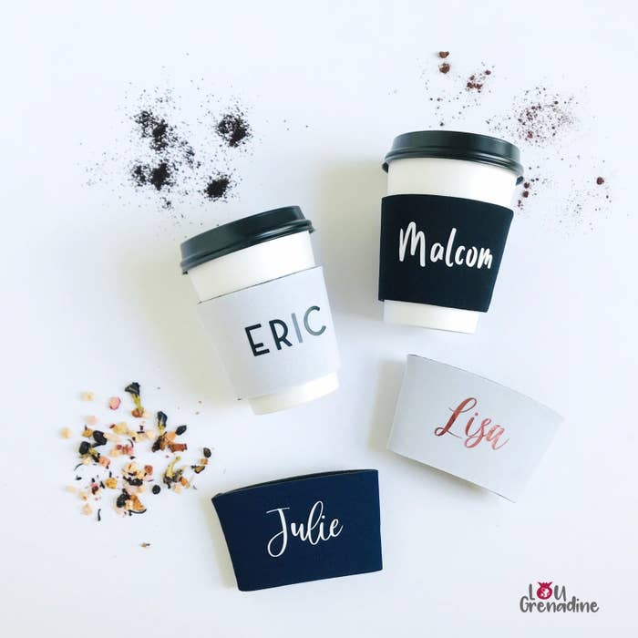 cup sleeves that say eric, malcolm, julie, and lisa