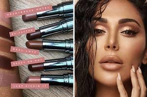 left image: lipstick swatches, right image: huda kattan wearing huda beauty eyeshadow palette in makeup look