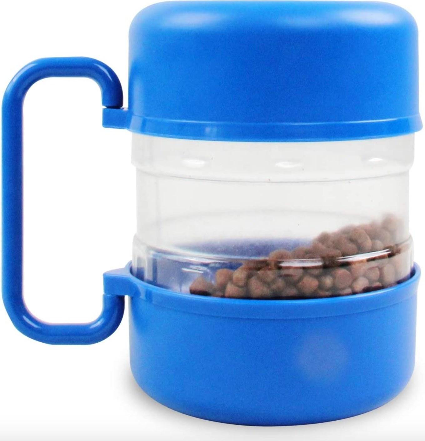 The travel dog food bin in  blue