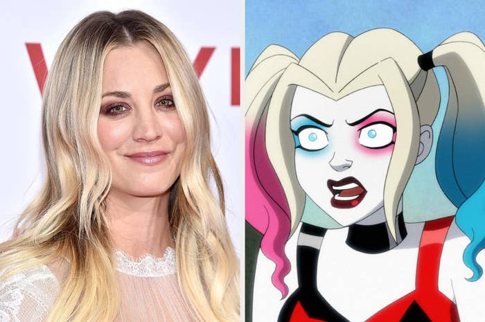 Kaley Cuoco and Harley Quinn in the HBO series