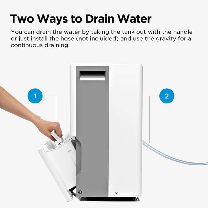 a diagram showing how to drain water from the unit, either from a drainage hose or from the tank