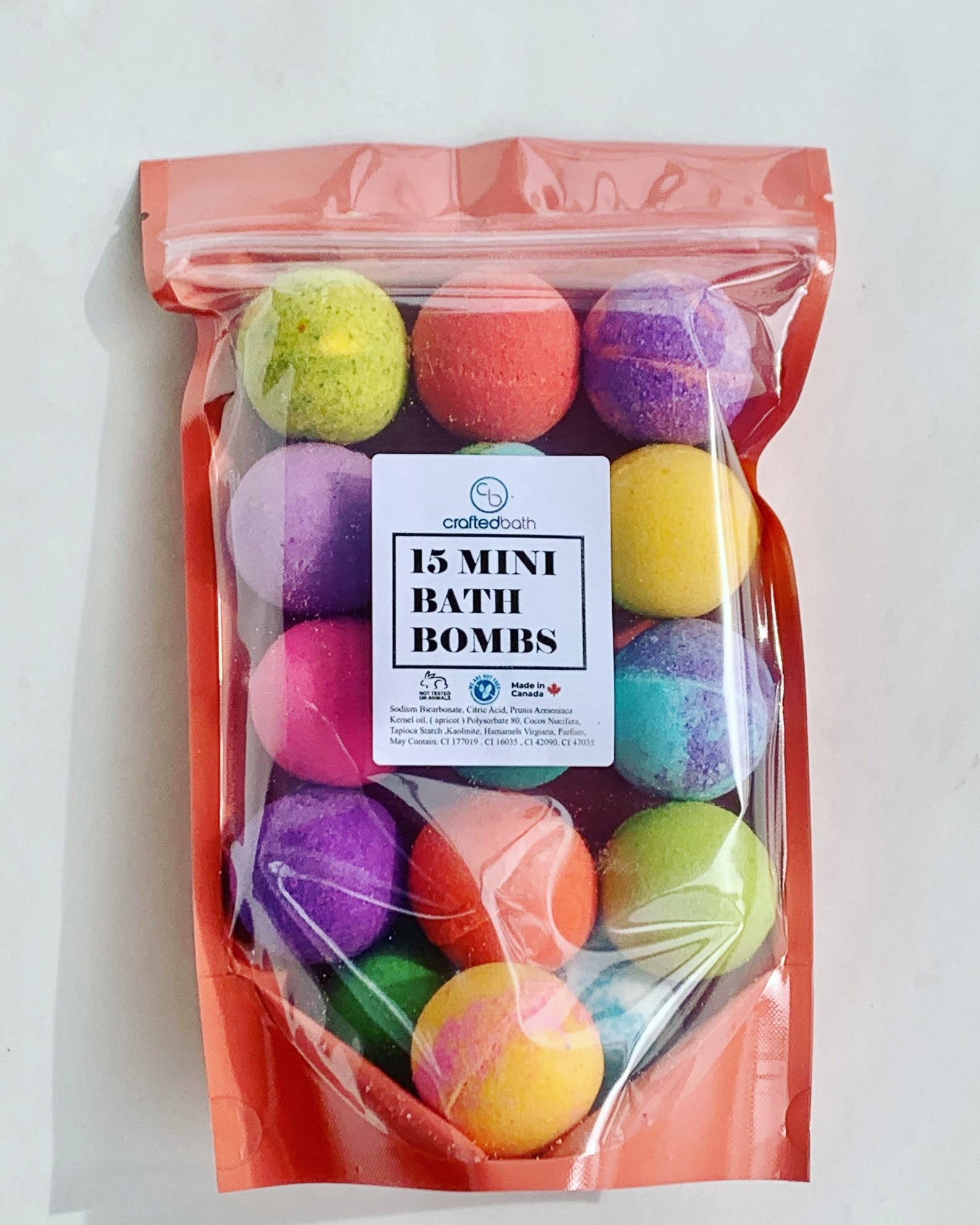 bag filled with bath bombs