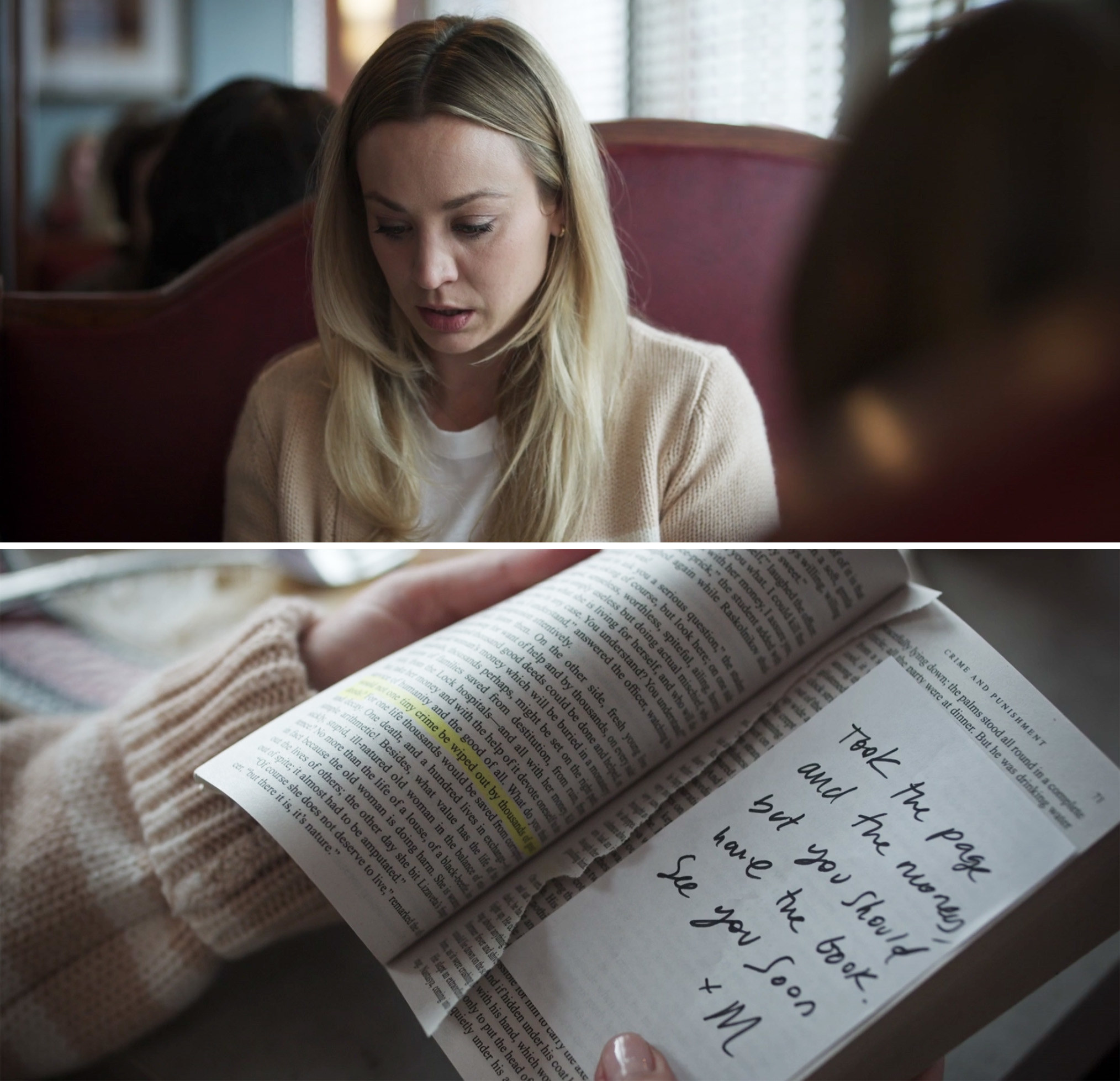"Cassie reading a note in the book that says, ""Took the page and the money, but you should have the book. See you soon. M"""