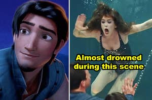 """Side-by-side of Flynn Rider plus Isla Fisher in a water tank in """"Now You See Me"""""""