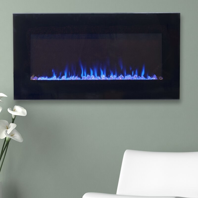 The wall-mounted fireplace