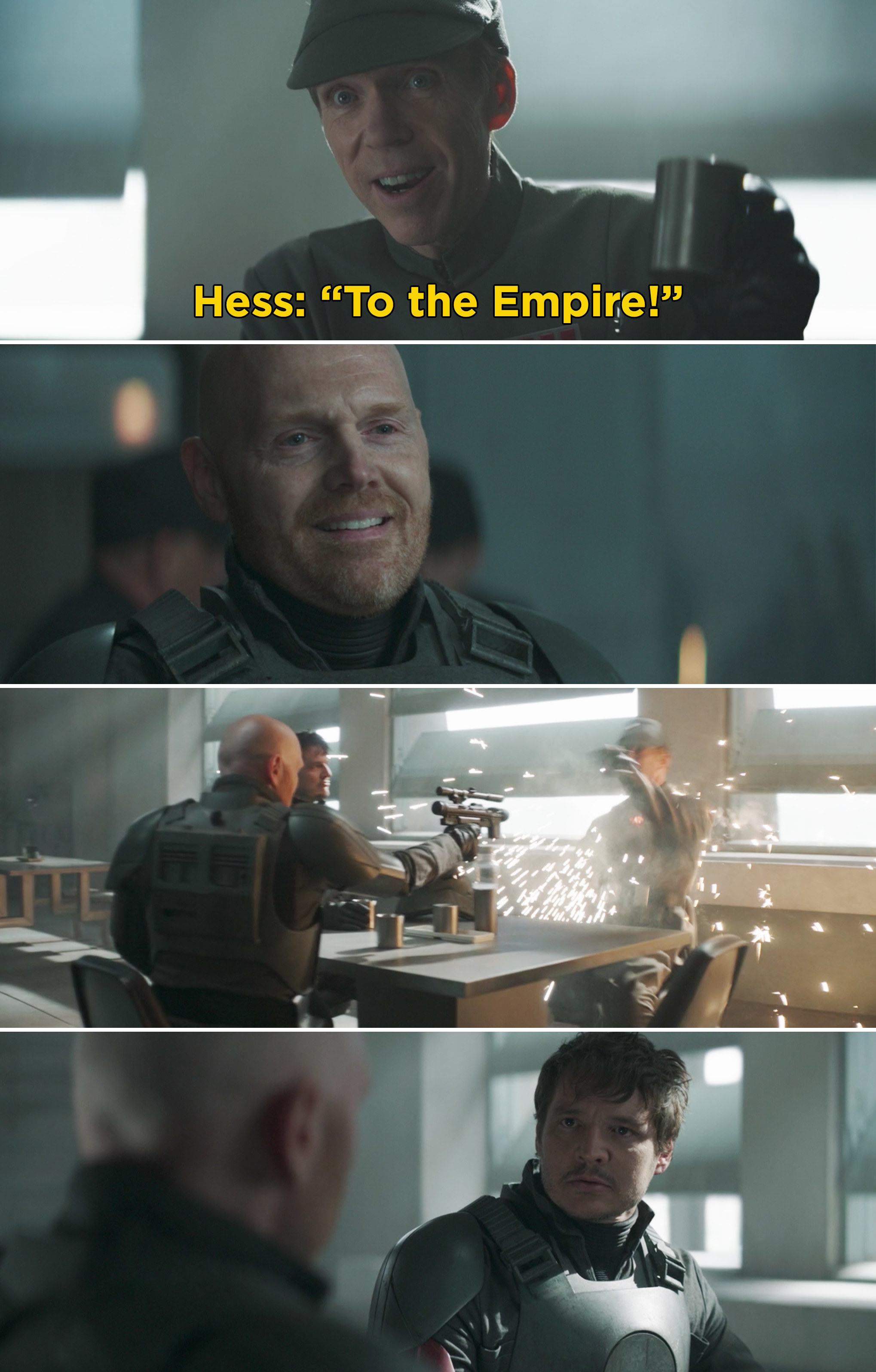 "Hess saying, 'To the Empire"" and then Migs shooting him"