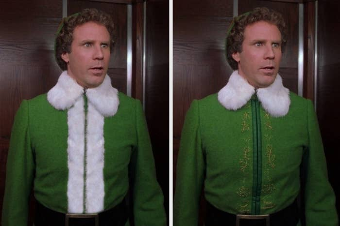 Buddy the Elf in a costume with embroidery and a costume with white lapels