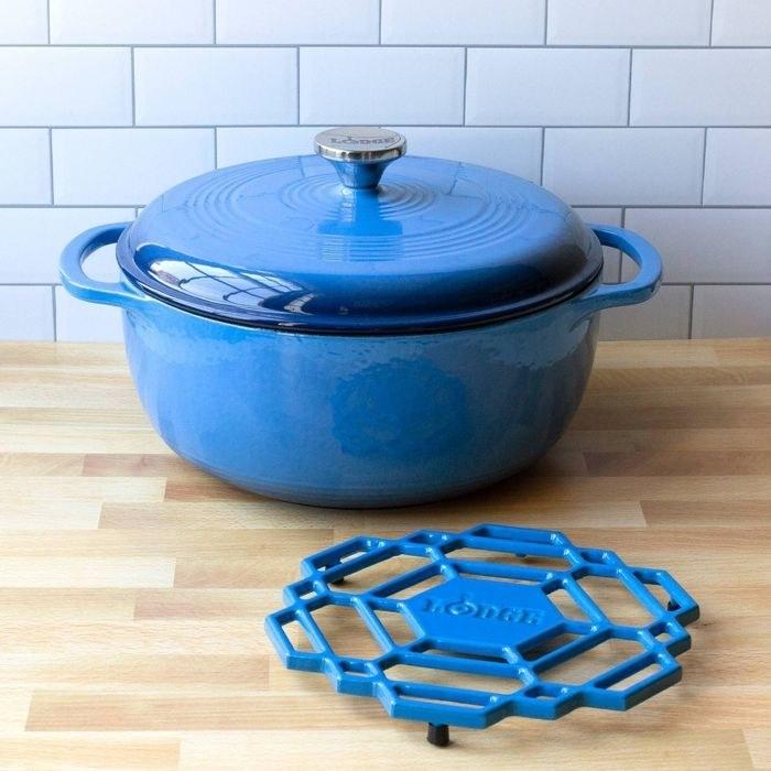 the blue Lodge 6qt Cast Iron Enamel Dutch Oven