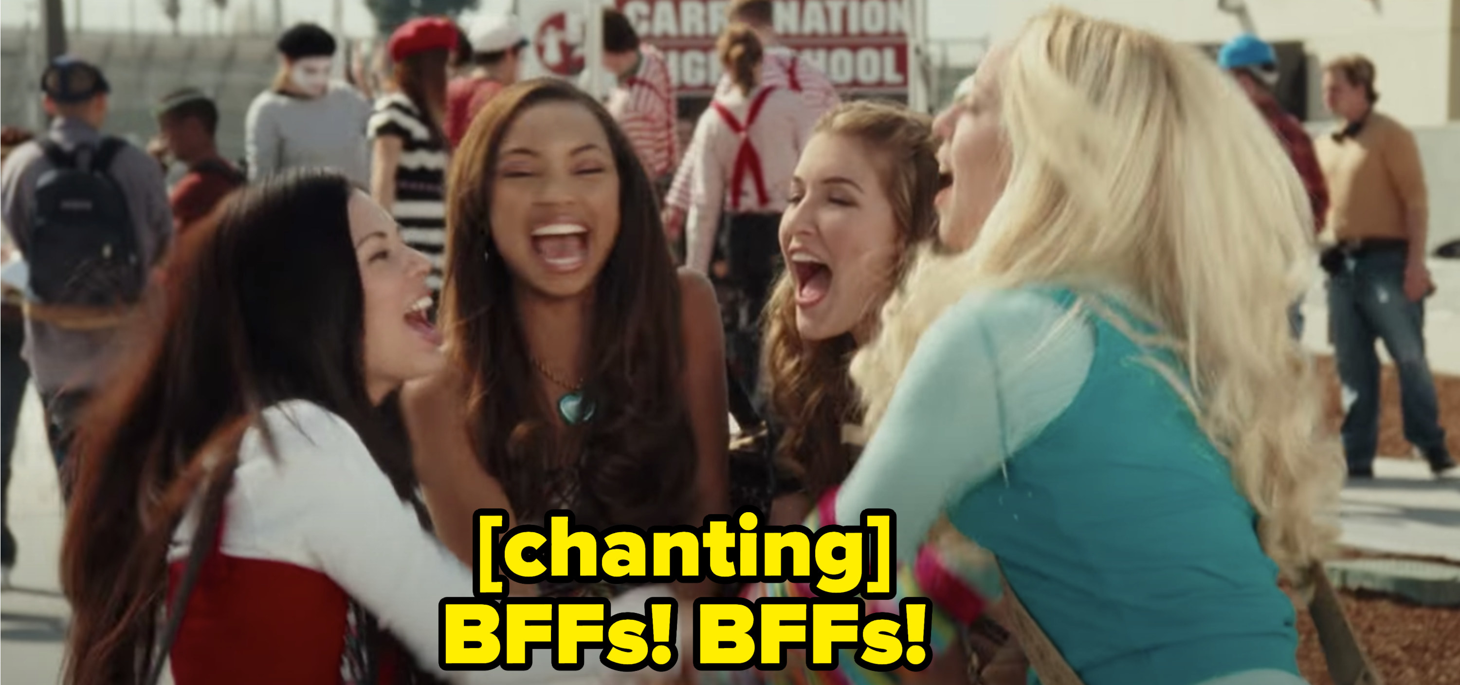 """All of the Bratz characters embracing outside at their school while chanting """"Bffs! Bffs!"""""""