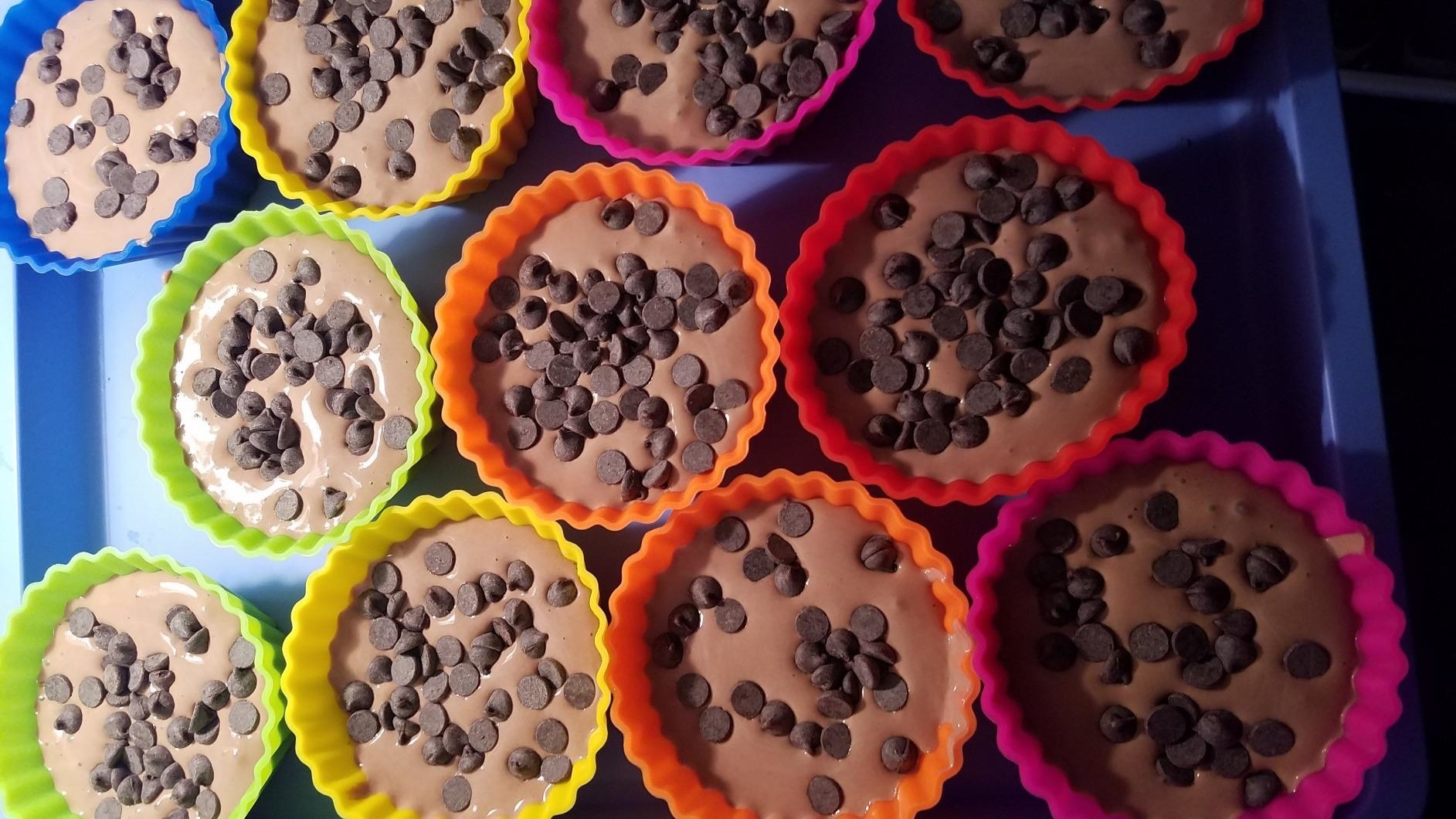 reviewer image of cupcakes in rainbow silicone cups