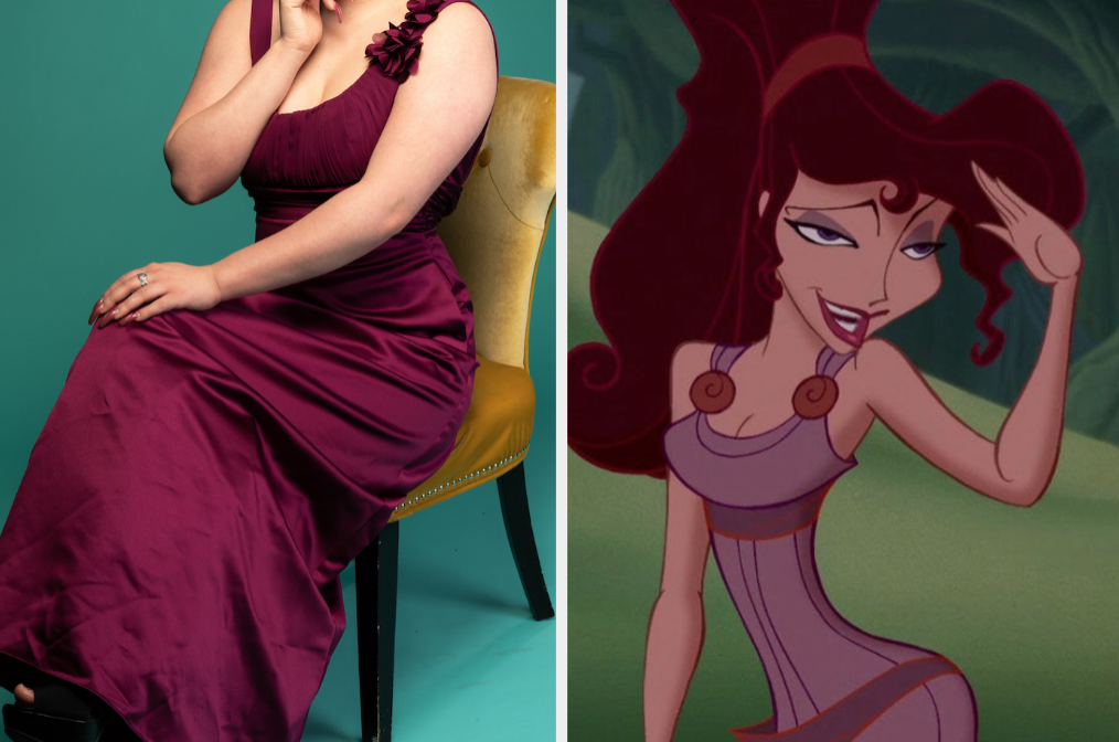 "Purple dress and Meg from ""Hercules"""