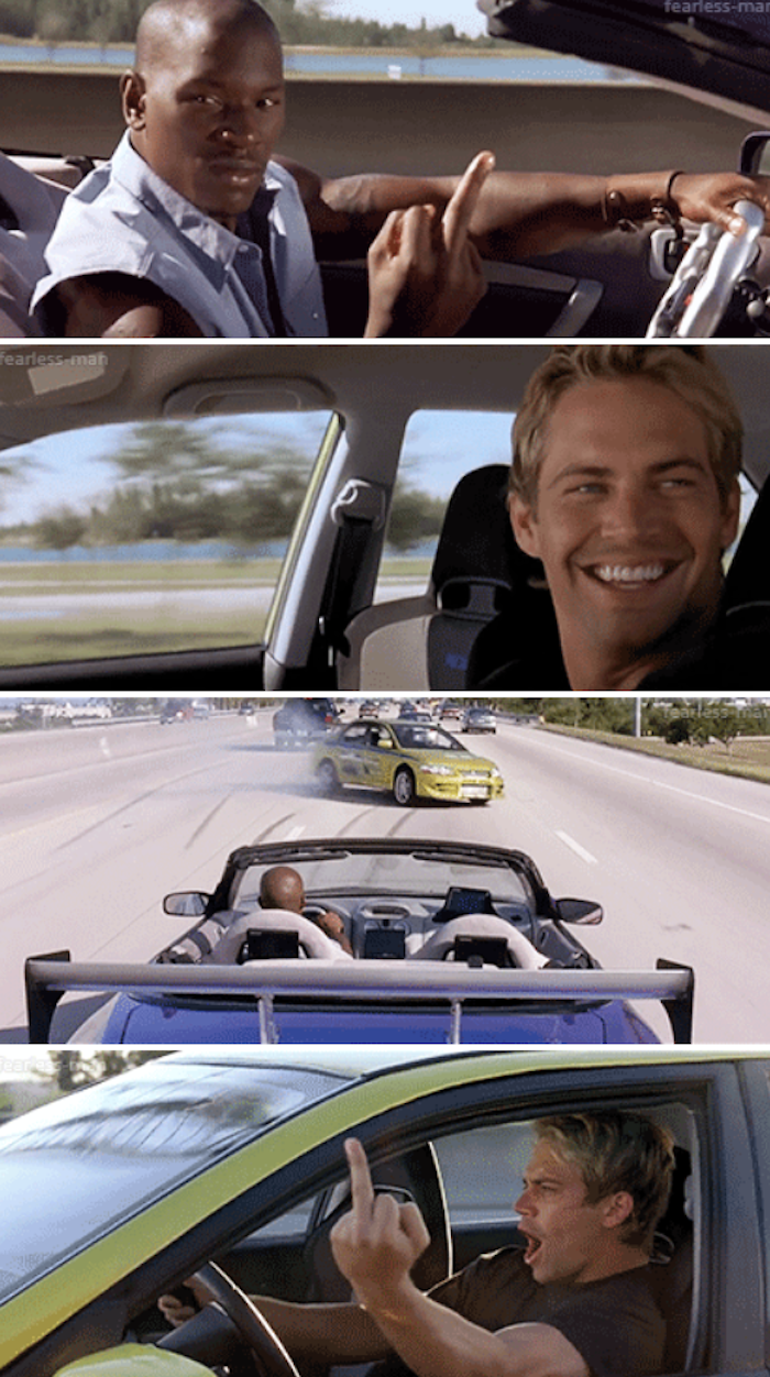 Brian and Roman giving each other the middle finger while driving in their own separate cars