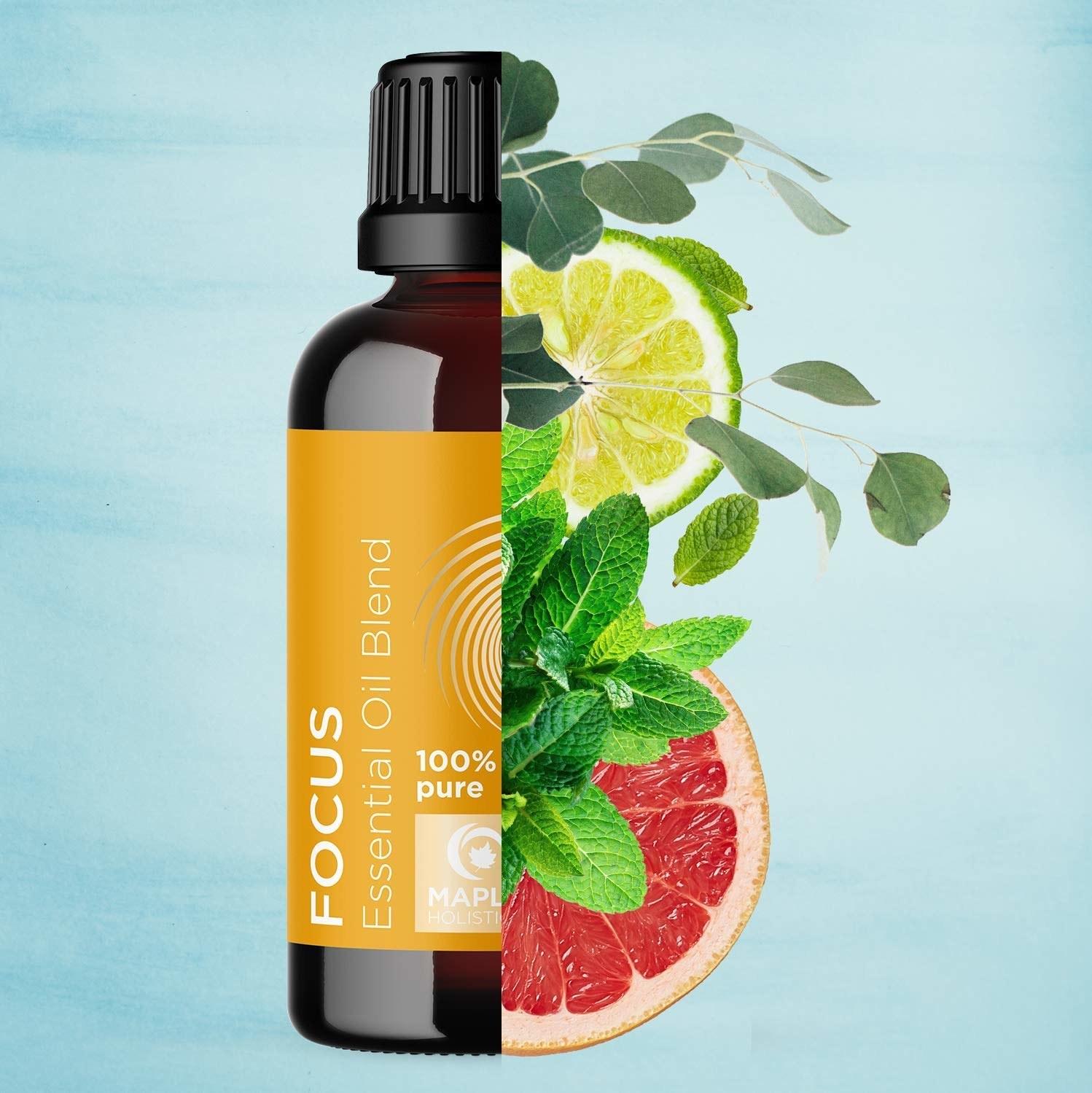 bottle of Focus essential oil blend