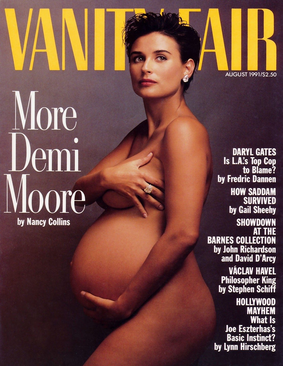 Cover of Vanity Fair's August 1991 issue with Demi Moore on the cover