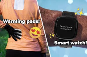 A person applying a heat pad to their back and a smart watch on a person's wrist
