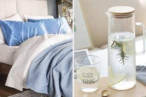 satin pillowcases next to bedside carafe