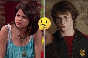 """On the left, Selena Gomez as Alex on """"Wizards of Waverly Place,"""" and on the right, Harry Potter with a thinking emoji in between the two images"""
