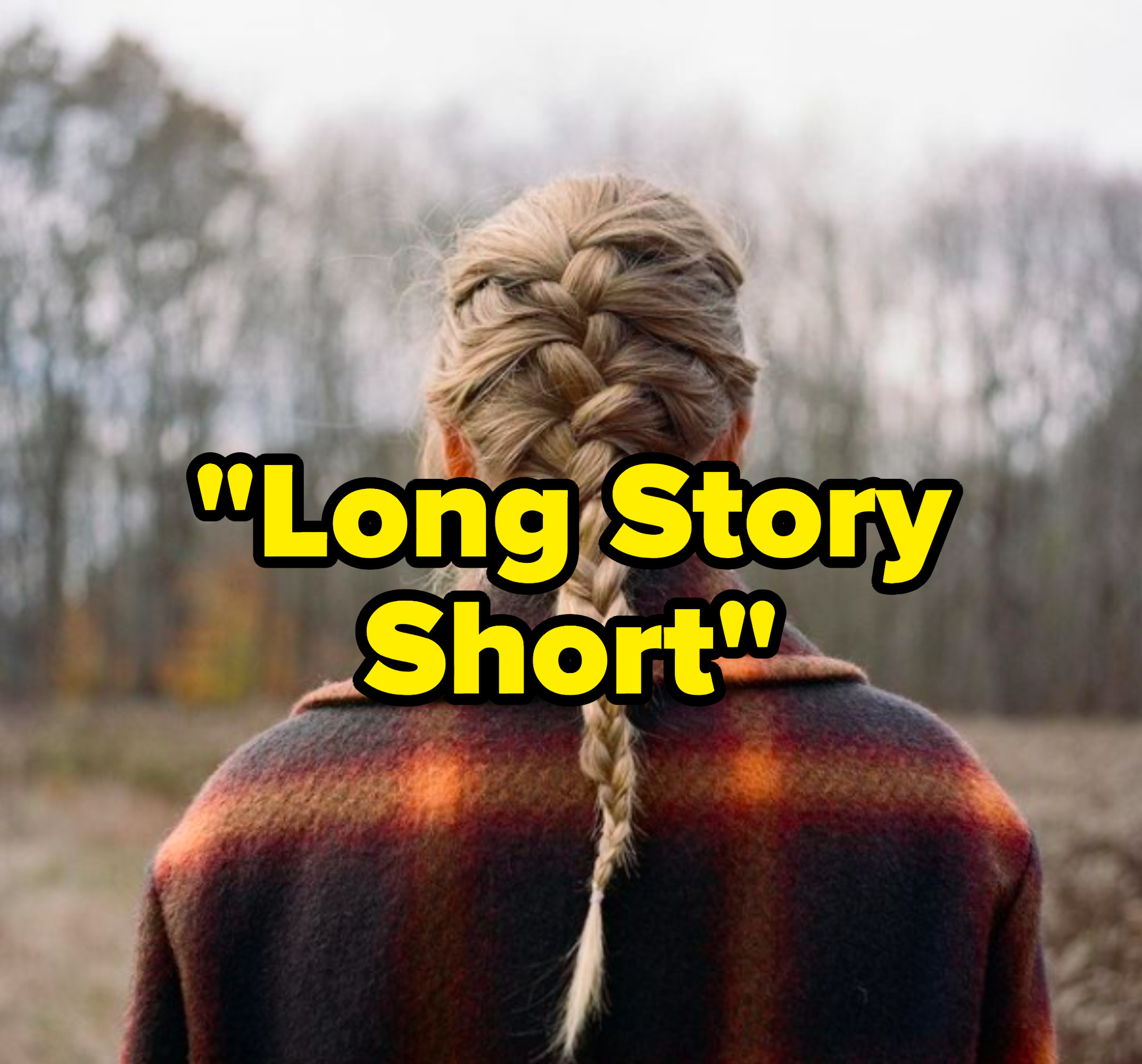 """""""Long Story Short"""" written over the """"Evermore"""" album cover"""