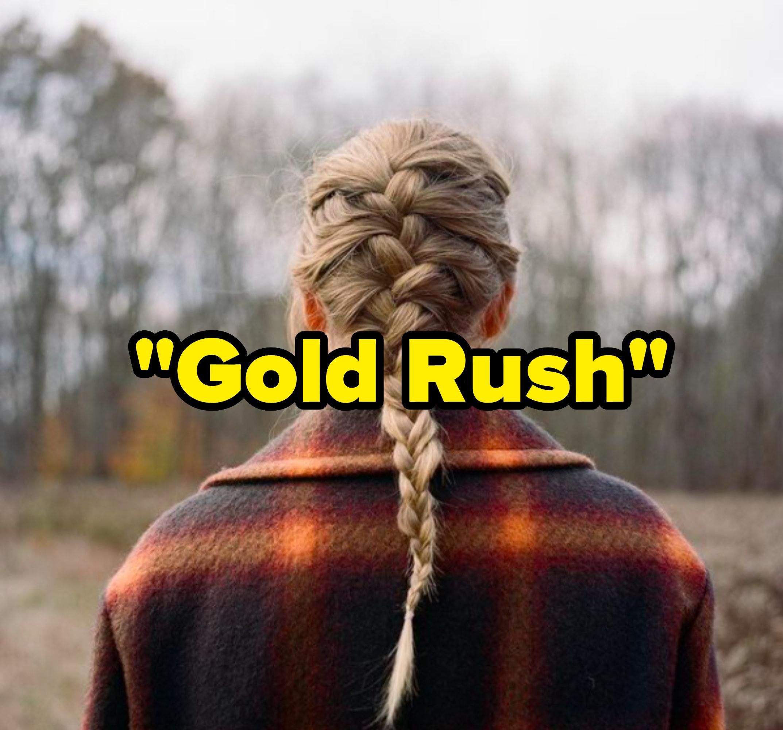"""Gold Rush"" written over the ""Evermore"" album cover"