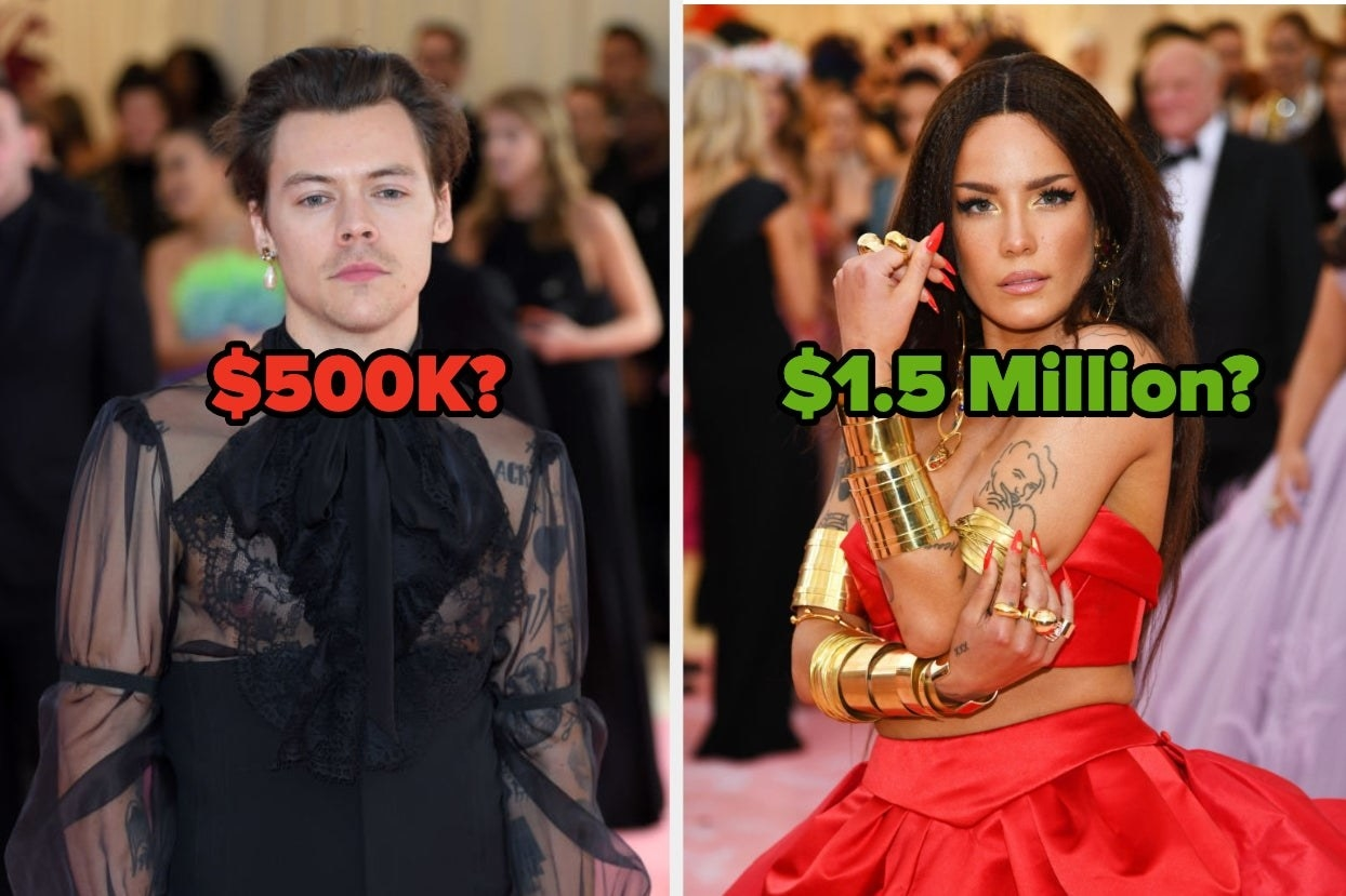 """Harry Styles at the Met Gala with the number """"$500K?"""" and Halsey with the words """"$1.5 Million?"""""""